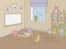 Preschool classroom graphic color interior sketch illustration vector. Preschool classroom graphic color interior sketch vector stock illustration