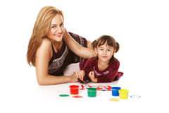Preschool daughter with young mom Royalty Free Stock Images