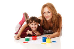 Preschool daughter with young mom Royalty Free Stock Image