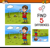 Preschool differences activity task. Cartoon Illustration of Finding Differences Educational Activity Task for Preschool Children with Boy Playing Soccer Stock Images
