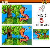 Preschool differences game. Cartoon Illustration of Finding Differences Educational Task for Preschool Children with Caterpillar Insect Character Royalty Free Stock Photos