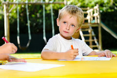 Preschool drawing art class Stock Photo