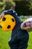 Preschool dziecko z piłki nożnej piłką Obraz Royalty Free