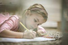 Preschool dziewczyny rysunek obraz royalty free