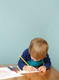 Preschool Education: Child Drawing. Concept of preschool, kids education, learning and art, child drawing in class stock images