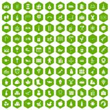 100 preschool education icons hexagon green Stock Photography