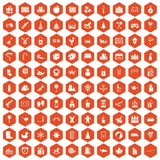 100 preschool education icons hexagon orange. 100 preschool education icons set in orange hexagon isolated vector illustration Stock Photo