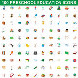 100 preschool education icons set, cartoon style Stock Photo