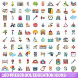 100 preschool education icons set, cartoon style. 100 preschool education icons set in cartoon style for any design vector illustration Stock Image