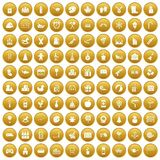 100 preschool education icons set gold Stock Images