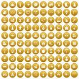 100 preschool education icons set gold. 100 preschool education icons set in gold circle isolated on white vector illustration Stock Images