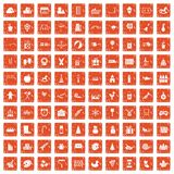 100 preschool education icons set grunge orange. 100 preschool education icons set in grunge style orange color isolated on white background vector illustration stock illustration
