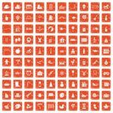100 preschool education icons set grunge orange. 100 preschool education icons set in grunge style orange color isolated on white background vector illustration Stock Photography
