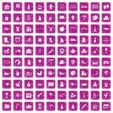 100 preschool education icons set grunge pink. 100 preschool education icons set in grunge style pink color isolated on white background vector illustration royalty free illustration