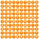 100 preschool education icons set orange. 100 preschool education icons set in orange circle isolated on white vector illustration stock illustration
