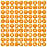 100 preschool education icons set orange. 100 preschool education icons set in orange circle isolated on white vector illustration Stock Images