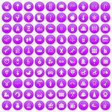 100 preschool education icons set purple. 100 preschool education icons set in purple circle isolated on white vector illustration vector illustration