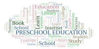 Preschool Education word cloud. Preschool Education word cloud, wordcloud made with text only stock photography