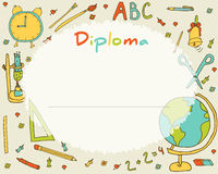 Preschool Elementary school. Kids Diploma certificate background. Design template. School diploma Stock Images