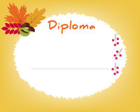 Preschool Elementary school. Kids Diploma certificate background. Design template. School diploma. Autumn background with leaves Royalty Free Stock Images