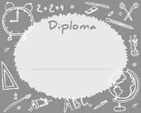 Preschool Elementary school. Kids Diploma certificate background. Design template. School diploma. Drawn in chalk Royalty Free Stock Photos