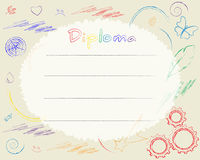 Preschool Elementary school. Kids Diploma certificate background. Design template. Drawn with colored pencils. School diploma Royalty Free Stock Photography