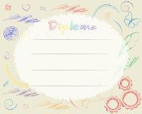 Preschool Elementary school. Kids Diploma certificate background Royalty Free Stock Photography