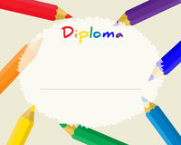 Preschool Elementary school. Kids Diploma certificate background. Design template. School diploma. Frame from color pencils Royalty Free Stock Photo