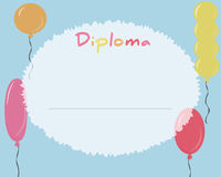 Preschool Elementary school. Kids Diploma certificate background. Design template. School diploma. Frame from colored balls Royalty Free Stock Photography