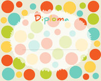 Preschool Elementary school. Kids Diploma certificate background. Design template. School diploma. Frame with colored circles Royalty Free Stock Photos