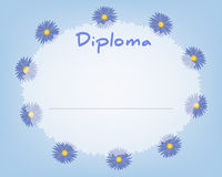 Preschool Elementary school. Kids Diploma certificate background. Design template. School diploma. Summer background with cornflowers Royalty Free Stock Photos