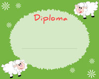 Preschool Elementary school. Kids Diploma certificate background. Design template. School diploma. Summer background with sheeps Royalty Free Stock Photos
