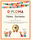 Preschool Elementary school Kids Diploma certificate background. Preschool Elementary school Kids Diploma certificate template with bunting flags background stock illustration