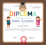 Preschool and Elementary school Kids Diploma certificate royalty free illustration
