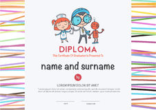 Preschool Elementary school Kids Diploma . Preschool Elementary school Kids Diploma certificate and hand draw icons education vector illustration