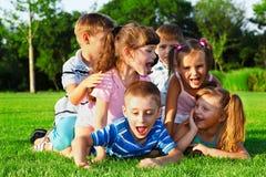 Preschool friends playing Stock Image
