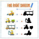 Preschool game with cars and their shadows Stock Images