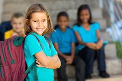 Preschool girl backpack Royalty Free Stock Images