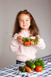 Preschool girl with healthy food Royalty Free Stock Photography