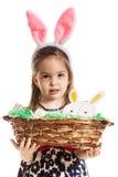 Preschool girl holding basket Royalty Free Stock Photo