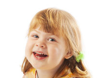 Preschool girl laughing Stock Photo