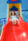 Preschool girl at the playground Royalty Free Stock Images