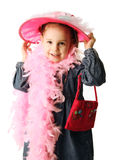 Preschool girl playing dress up Royalty Free Stock Photos