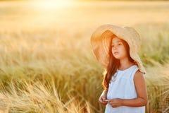 Preschool girl in a ripe wheat field Royalty Free Stock Image