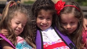 Preschool Girls Adorable Children. Three Female Hispanic Preschool Children stock video footage