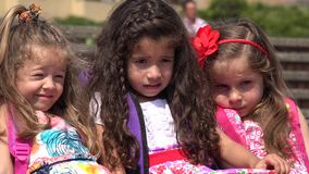 Preschool Girls School Children. Three young female preschool children stock video