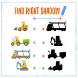 Preschool gra z samochodami i ich cieniami Obrazy Stock