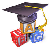 Preschool graduation cap with play blocks Royalty Free Stock Photos