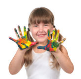 Preschool Kid Waiting to Make Handprints Stock Photo
