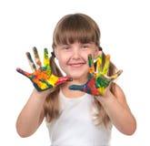 Preschool Kid Waiting to Make Handprints Stock Photo